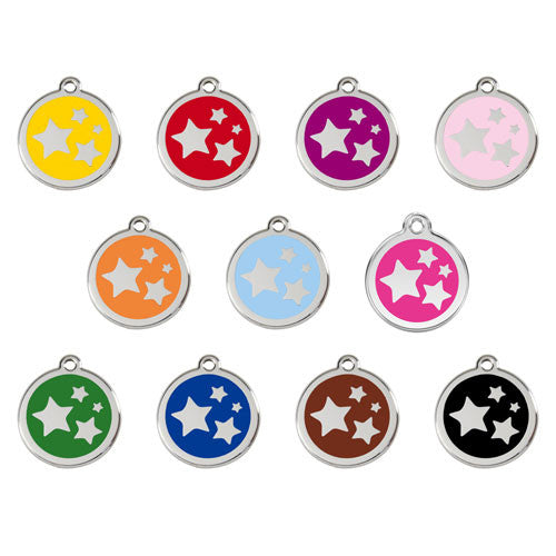Red Dingo Stars Enamel Stainless Steel Dog ID Tag