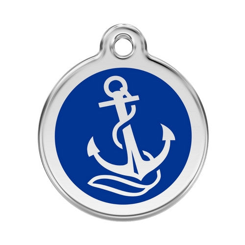 Red Dingo Anchor Enamel Stainless Steel Dog ID Tag Large