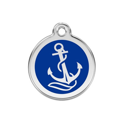 Red Dingo Anchor Enamel Stainless Steel Dog ID Tag Medium