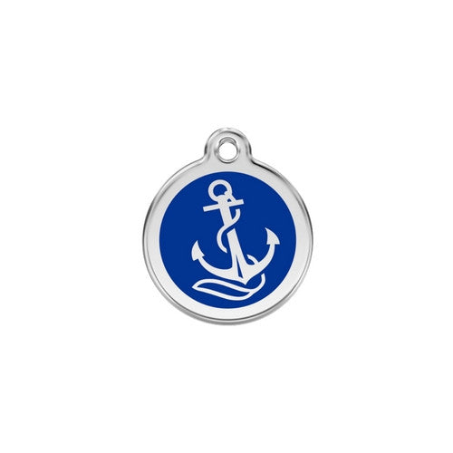 Red Dingo Anchor Enamel Stainless Steel Dog ID Tag Small