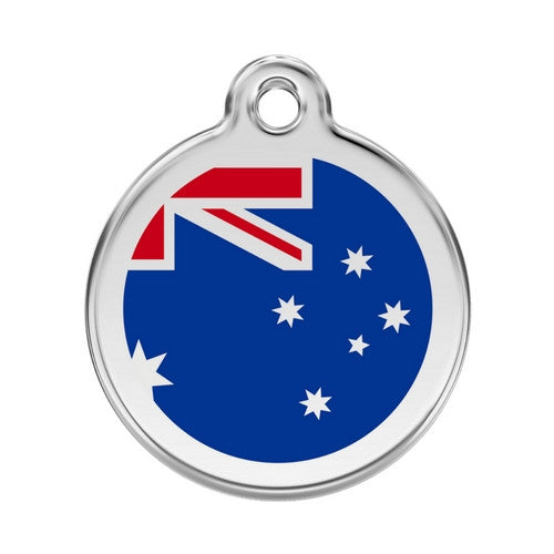 Red Dingo Enamel Stainless Steel National Flag Dog ID Tag Australia Large