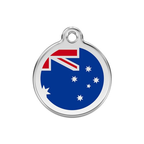 Red Dingo Enamel Stainless Steel National Flag Dog ID Tag Australia Medium