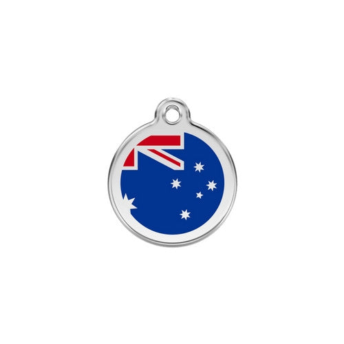 Red Dingo Enamel Stainless Steel National Flag Dog ID Tag Australia Small