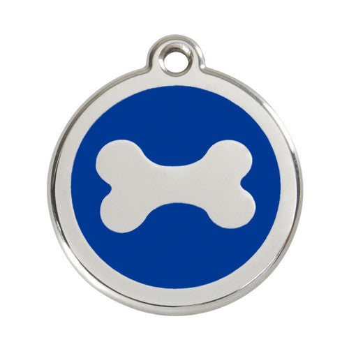 Red Dingo Bone Enamel Stainless Steel Dog ID Tag Large Dark Blue