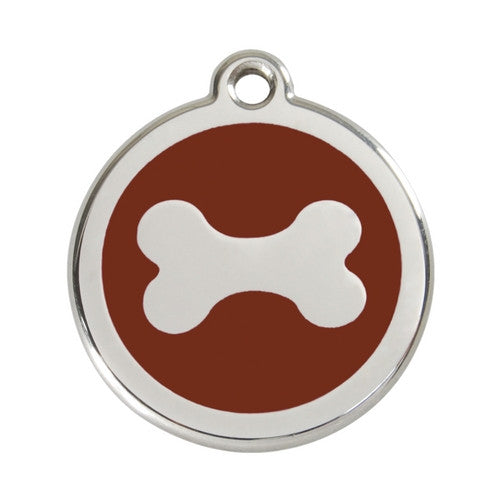 Red Dingo Bone Enamel Stainless Steel Dog ID Tag Large Brown