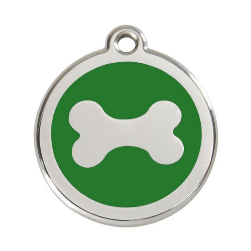 Red Dingo Bone Enamel Stainless Steel Dog ID Tag Large Green
