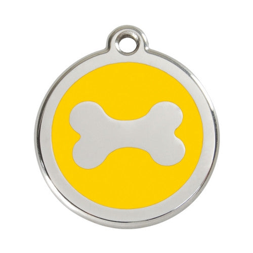 Red Dingo Bone Enamel Stainless Steel Dog ID Tag Large Yellow