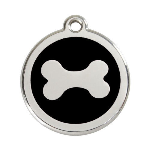 Red Dingo Bone Enamel Stainless Steel Dog ID Tag Large Black