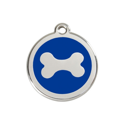 Red Dingo Bone Enamel Stainless Steel Dog ID Tag Medium Dark Blue