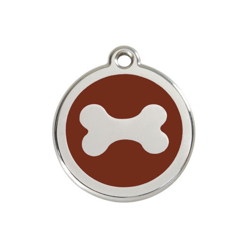 Red Dingo Bone Enamel Stainless Steel Dog ID Tag Medium Brown
