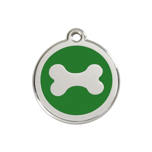 Red Dingo Bone Enamel Stainless Steel Dog ID Tag Medium Green