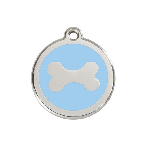 Red Dingo Bone Enamel Stainless Steel Dog ID Tag Medium Light Blue
