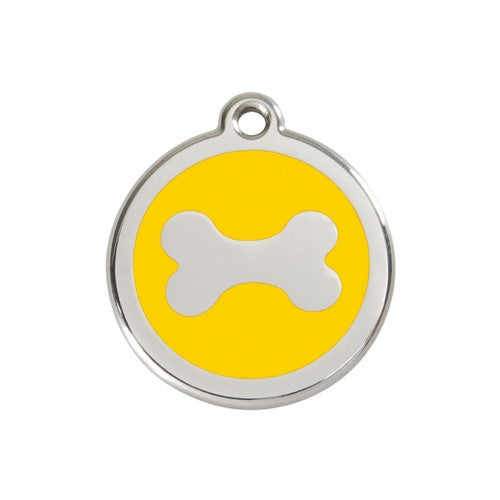 Red Dingo Bone Enamel Stainless Steel Dog ID Tag Medium Yellow