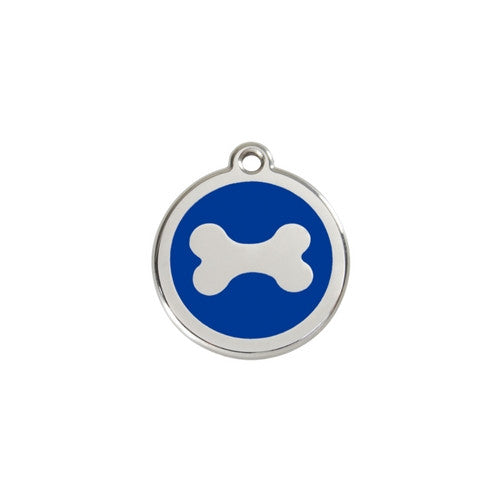 Red Dingo Bone Enamel Stainless Steel Dog ID Tag Small Dark Blue