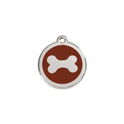 Red Dingo Bone Enamel Stainless Steel Dog ID Tag Small Brown