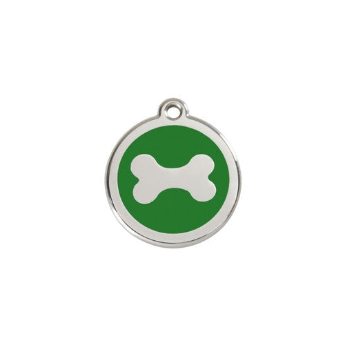 Red Dingo Bone Enamel Stainless Steel Dog ID Tag Small Green