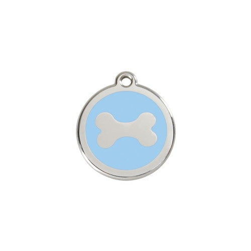 Red Dingo Bone Enamel Stainless Steel Dog ID Tag Small Light Blue