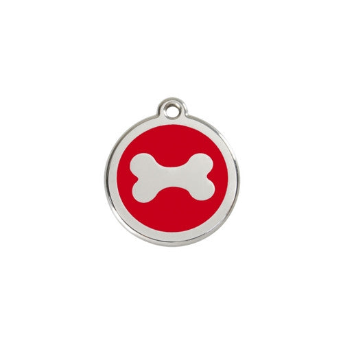 Red Dingo Bone Enamel Stainless Steel Dog ID Tag Small Red