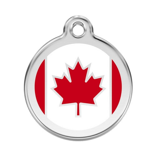 Red Dingo Enamel Stainless Steel National Flag Dog ID Tag Canada Large