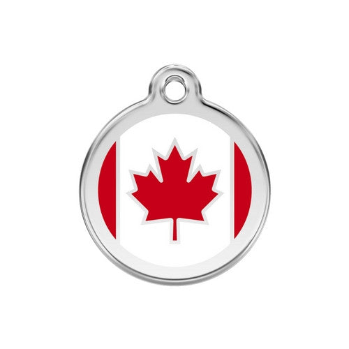 Red Dingo Enamel Stainless Steel National Flag Dog ID Tag Canada Medium