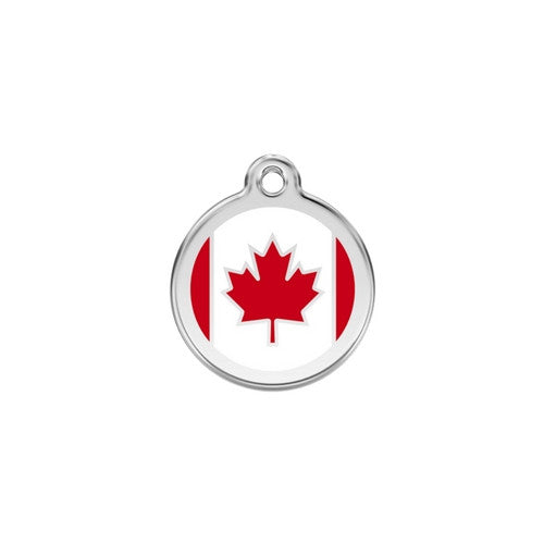 Red Dingo Enamel Stainless Steel National Flag Dog ID Tag Canada Small