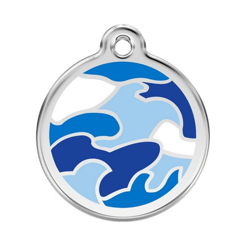 Red Dingo Camouflage Enamel Stainless Steel Dog ID Tag Large Blue