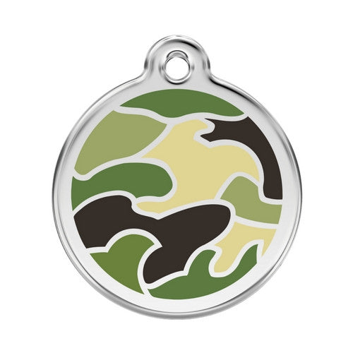 Red Dingo Camouflage Enamel Stainless Steel Dog ID Tag Large Green