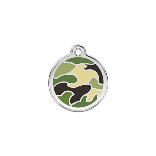 Red Dingo Camouflage Enamel Stainless Steel Dog ID Tag Small Green