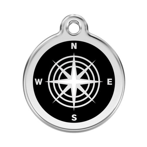 Red Dingo Compass Enamel Stainless Steel Dog ID Tag Large