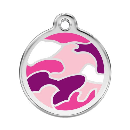 Red Dingo Camouflage Enamel Stainless Steel Dog ID Tag Large Pink