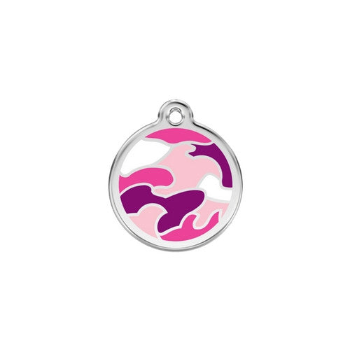 Red Dingo Camouflage Enamel Stainless Steel Dog ID Tag Small Pink