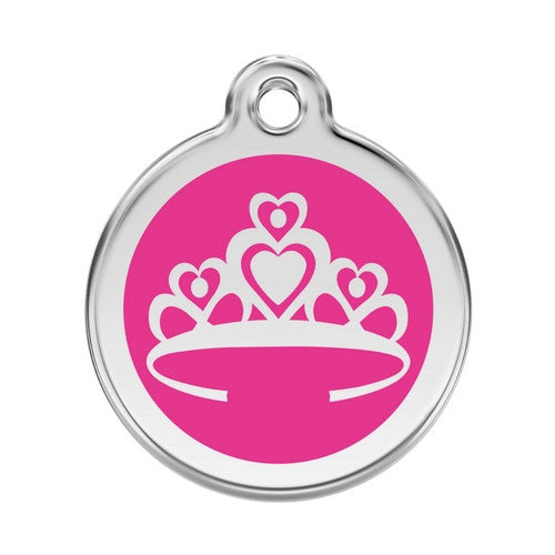 Red Dingo Crown Enamel Stainless Steel Enraged Dog ID Tag Large Hot Pink