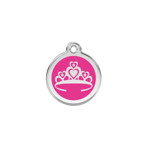 Red Dingo Crown Enamel Stainless Steel Enraged Dog ID Tag Small Hot Pink