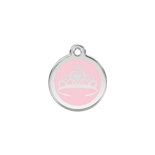 Red Dingo Crown Enamel Stainless Steel Enraged Dog ID Tag Small Pink