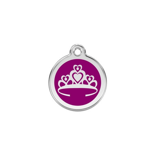 Red Dingo Crown Enamel Stainless Steel Enraged Dog ID Tag Small Purple