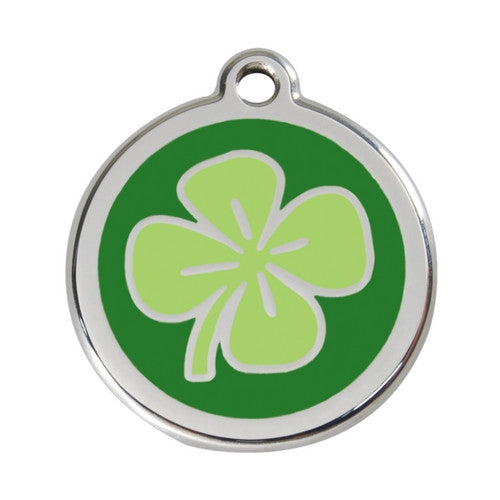 Red Dingo Lucky Clover Enamel Stainless Steel Dog ID Tag Large