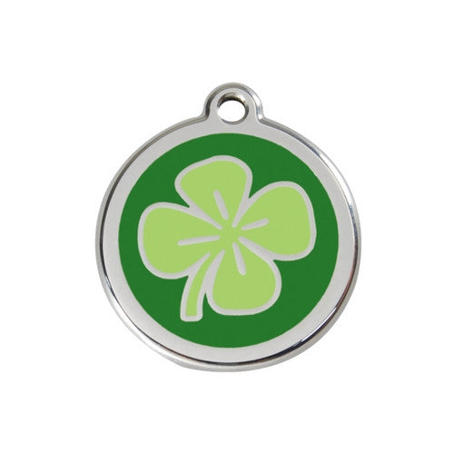 Red Dingo Lucky Clover Enamel Stainless Steel Dog ID Tag Medium