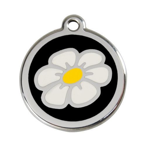 Red Dingo DAISY Engraved Stainless Steel Enamel Dog ID Tag Large Black