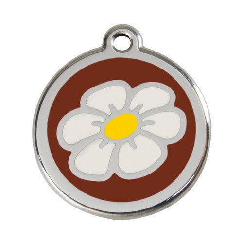 Red Dingo DAISY Engraved Stainless Steel Enamel Dog ID Tag Large Brown
