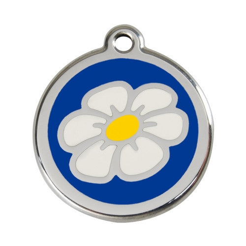 Red Dingo DAISY Engraved Stainless Steel Enamel Dog ID Tag Large Dark Blue