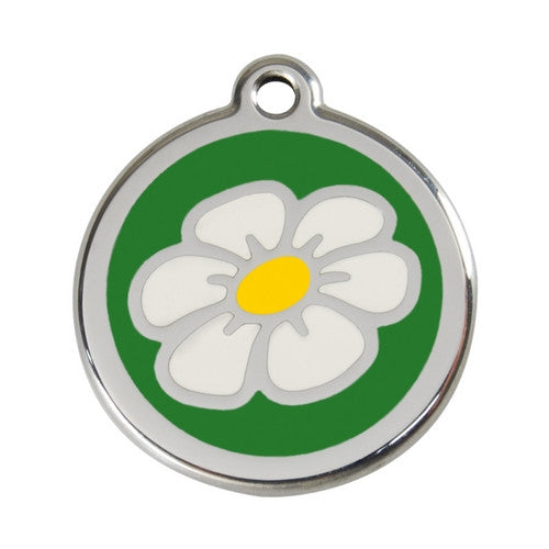 Red Dingo DAISY Engraved Stainless Steel Enamel Dog ID Tag Large Green