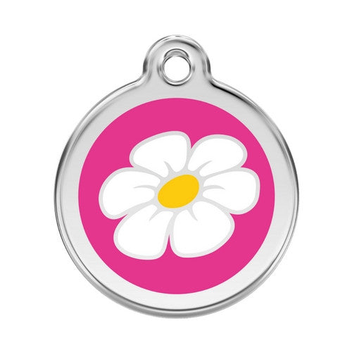Red Dingo DAISY Engraved Stainless Steel Enamel Dog ID Tag Large Hot Pink