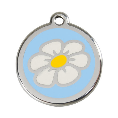 Red Dingo DAISY Engraved Stainless Steel Enamel Dog ID Tag Large Light Blue