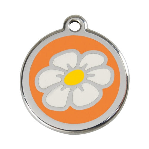 Red Dingo DAISY Engraved Stainless Steel Enamel Dog ID Tag Large Orange