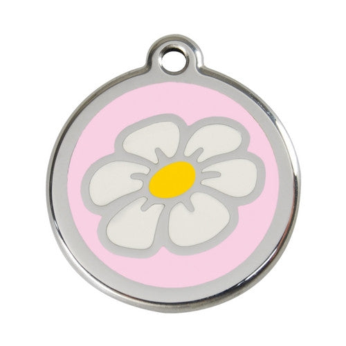 Red Dingo DAISY Engraved Stainless Steel Enamel Dog ID Tag Large Pink