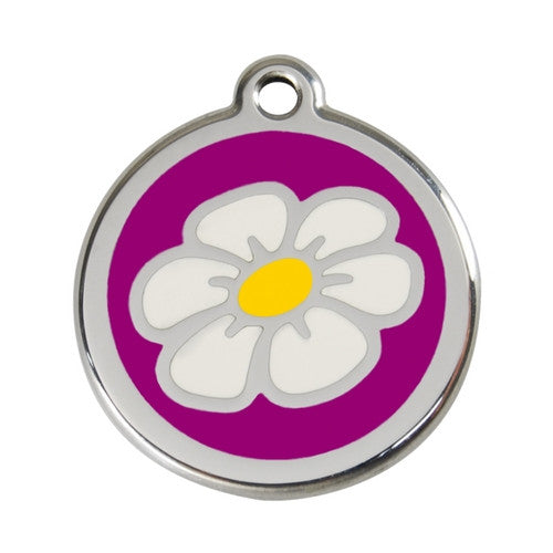 Red Dingo DAISY Engraved Stainless Steel Enamel Dog ID Tag Large Purple