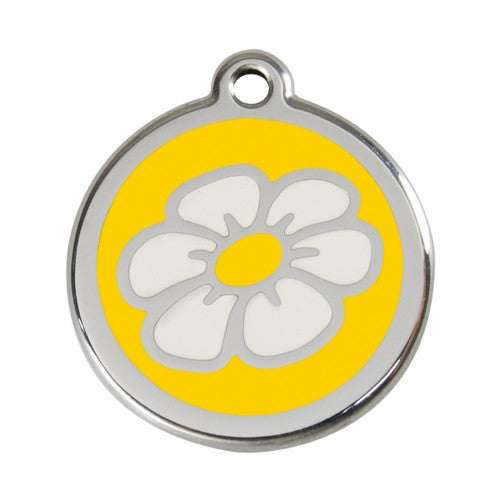 Red Dingo DAISY Engraved Stainless Steel Enamel Dog ID Tag Large Yellow