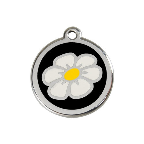 Red Dingo DAISY Engraved Stainless Steel Enamel Dog ID Tag Medium Black