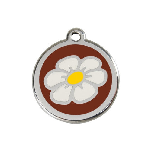 Red Dingo DAISY Engraved Stainless Steel Enamel Dog ID Tag Medium Brown