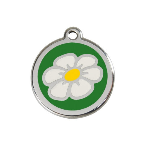 Red Dingo DAISY Engraved Stainless Steel Enamel Dog ID Tag Medium Green